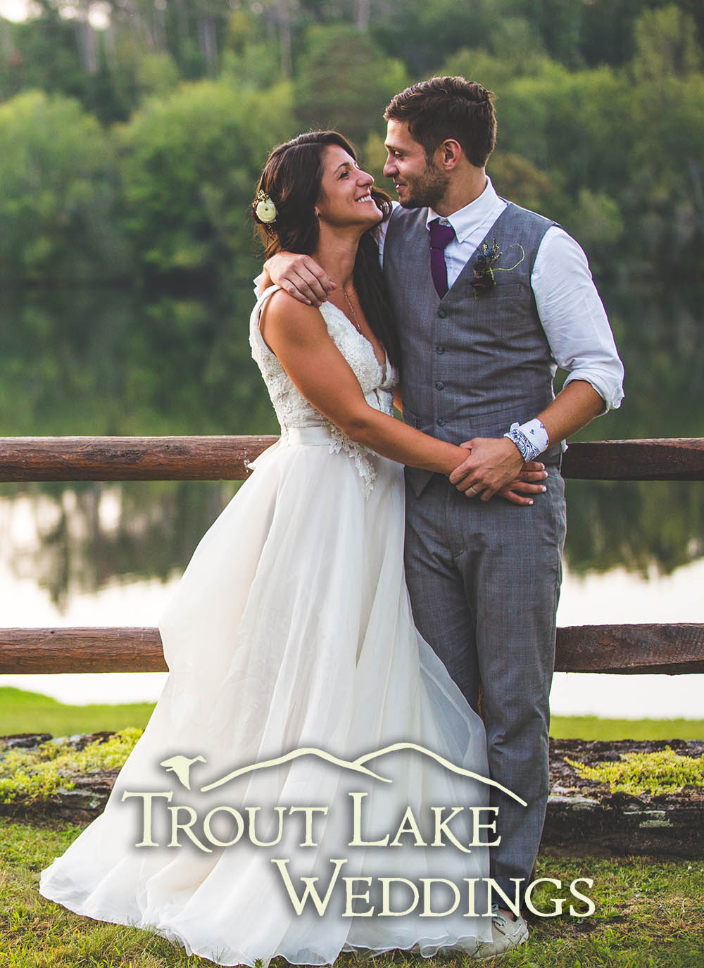 bride & groom posing at Trout Lake Weddings